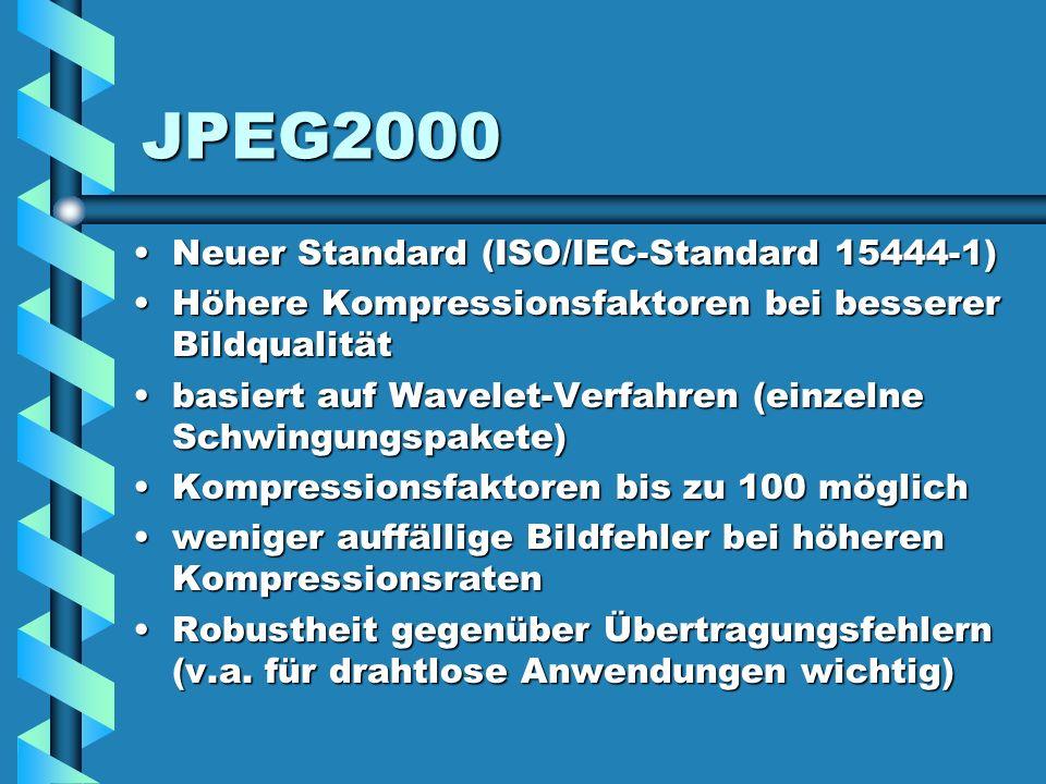 JPEG2000 Neuer Standard (ISO/IEC-Standard 15444-1)Neuer Standard (ISO/IEC-Standard 15444-1) Höhere Kompressionsfaktoren bei besserer BildqualitätHöher