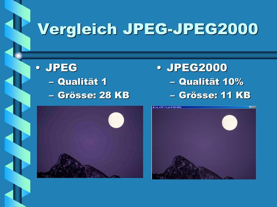 Vergleich JPEG-JPEG2000 JPEGJPEG –Qualität 1 –Grösse: 28 KB JPEG2000 –Qualität 10% –Grösse: 11 KB