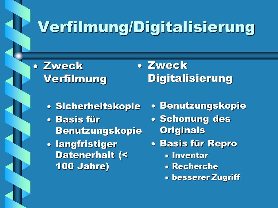 Verfilmung/Digitalisierung Zweck Verfilmung Sicherheitskopie Basis für Benutzungskopie langfristiger Datenerhalt (< 100 Jahre) Zweck Digitalisierung Z
