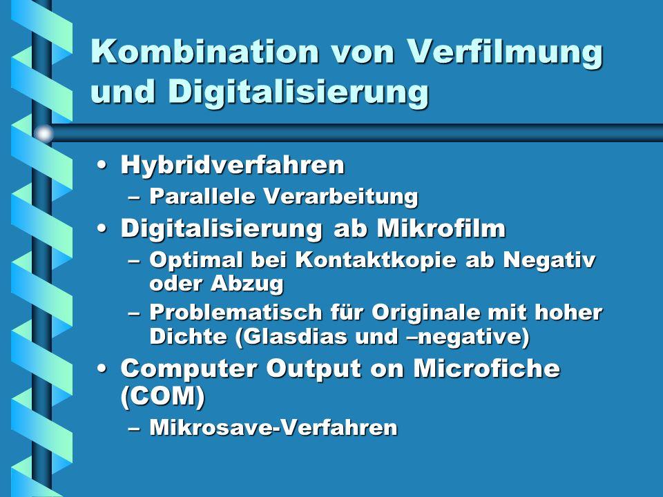 Kombination von Verfilmung und Digitalisierung HybridverfahrenHybridverfahren –Parallele Verarbeitung Digitalisierung ab MikrofilmDigitalisierung ab M