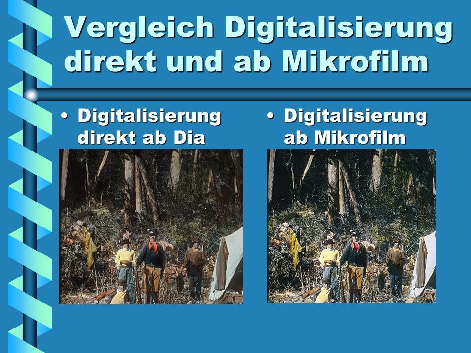 Vergleich Digitalisierung direkt und ab Mikrofilm Digitalisierung direkt ab DiaDigitalisierung direkt ab Dia Digitalisierung ab Mikrofilm