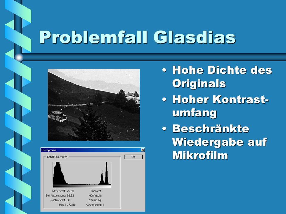 Problemfall Glasdias Hohe Dichte des Originals Hoher Kontrast- umfang Beschränkte Wiedergabe auf Mikrofilm