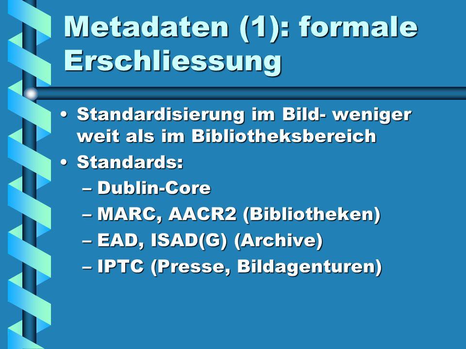 Metadaten (1): formale Erschliessung Standardisierung im Bild- weniger weit als im BibliotheksbereichStandardisierung im Bild- weniger weit als im Bib