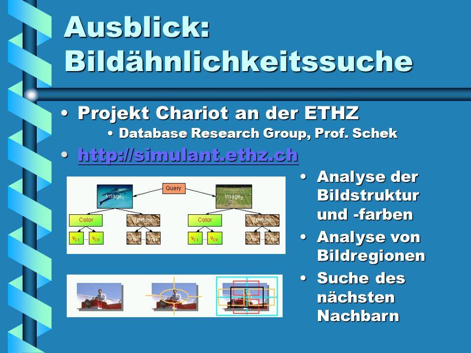 Ausblick: Bildähnlichkeitssuche Projekt Chariot an der ETHZProjekt Chariot an der ETHZ Database Research Group, Prof. SchekDatabase Research Group, Pr