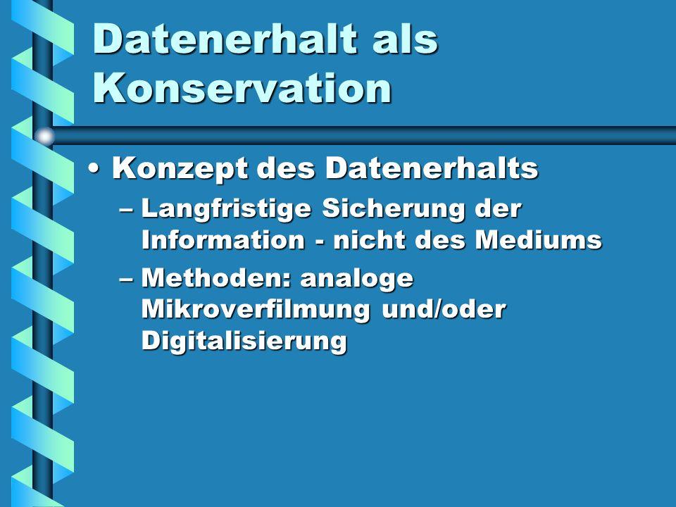 Datenerhalt als Konservation Konzept des DatenerhaltsKonzept des Datenerhalts –Langfristige Sicherung der Information - nicht des Mediums –Methoden: a