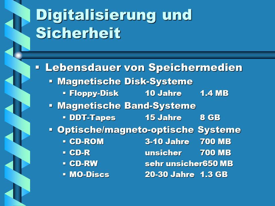 Digitalisierung und Sicherheit Lebensdauer von Speichermedien Lebensdauer von Speichermedien Magnetische Disk-Systeme Magnetische Disk-Systeme Floppy-