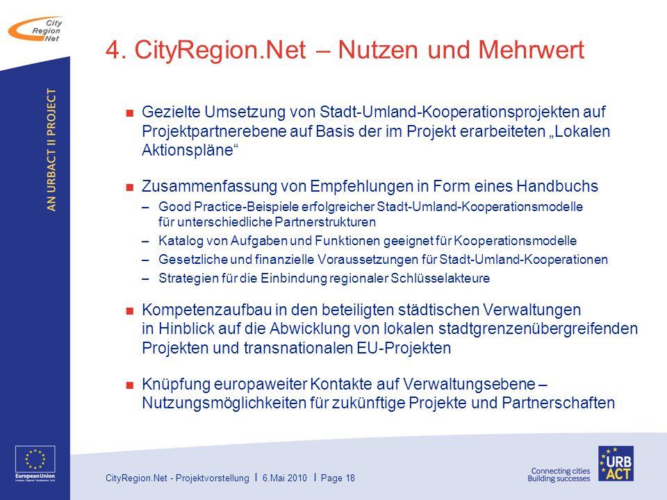 CityRegion.Net - Projektvorstellung I 6.Mai 2010 I Page 18 4.