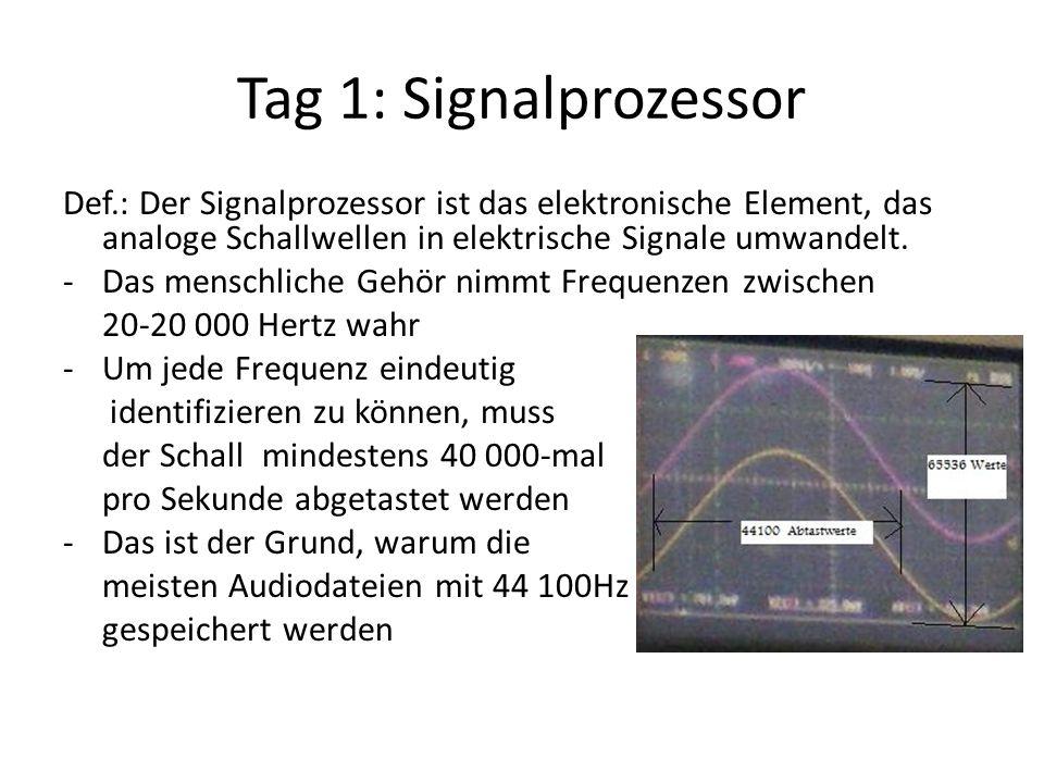 Tag 1: Signalprozessor Def.: Der Signalprozessor ist das elektronische Element, das analoge Schallwellen in elektrische Signale umwandelt. -Das mensch
