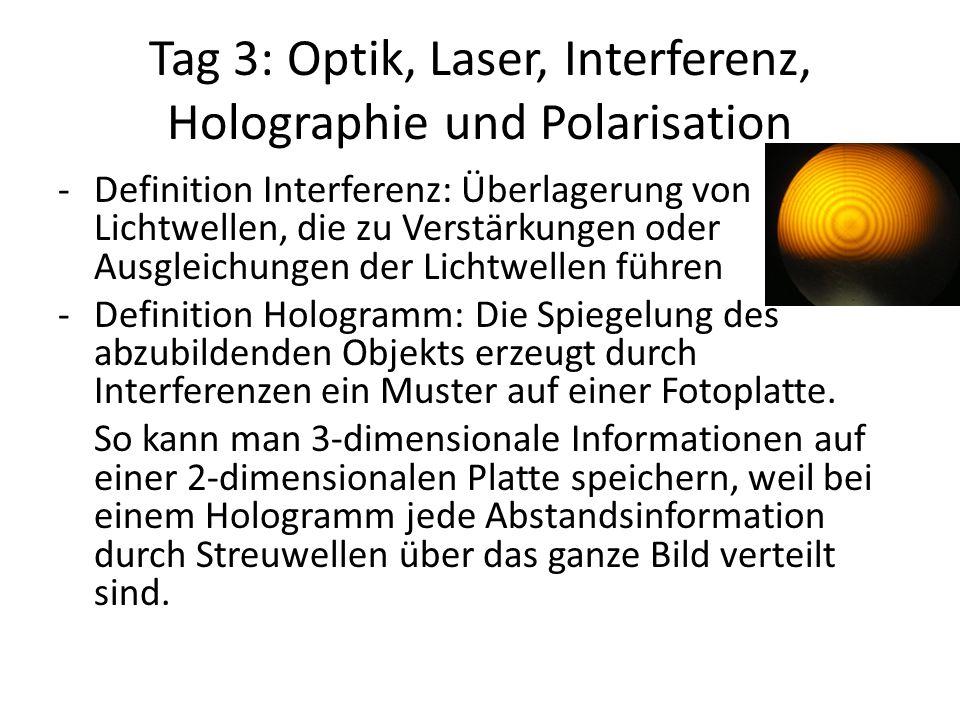 Tag 3: Optik, Laser, Interferenz, Holographie und Polarisation -Definition Interferenz: Überlagerung von Lichtwellen, die zu Verstärkungen oder Ausgle