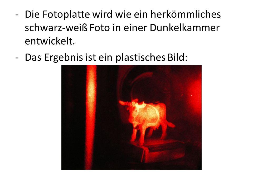-Die Fotoplatte wird wie ein herkömmliches schwarz-weiß Foto in einer Dunkelkammer entwickelt. -Das Ergebnis ist ein plastisches Bild: