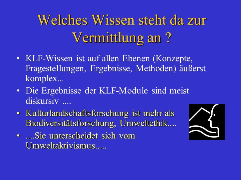 Welches Wissen steht da zur Vermittlung an ? KLF-Wissen ist auf allen Ebenen (Konzepte, Fragestellungen, Ergebnisse, Methoden) äußerst komplex... Die