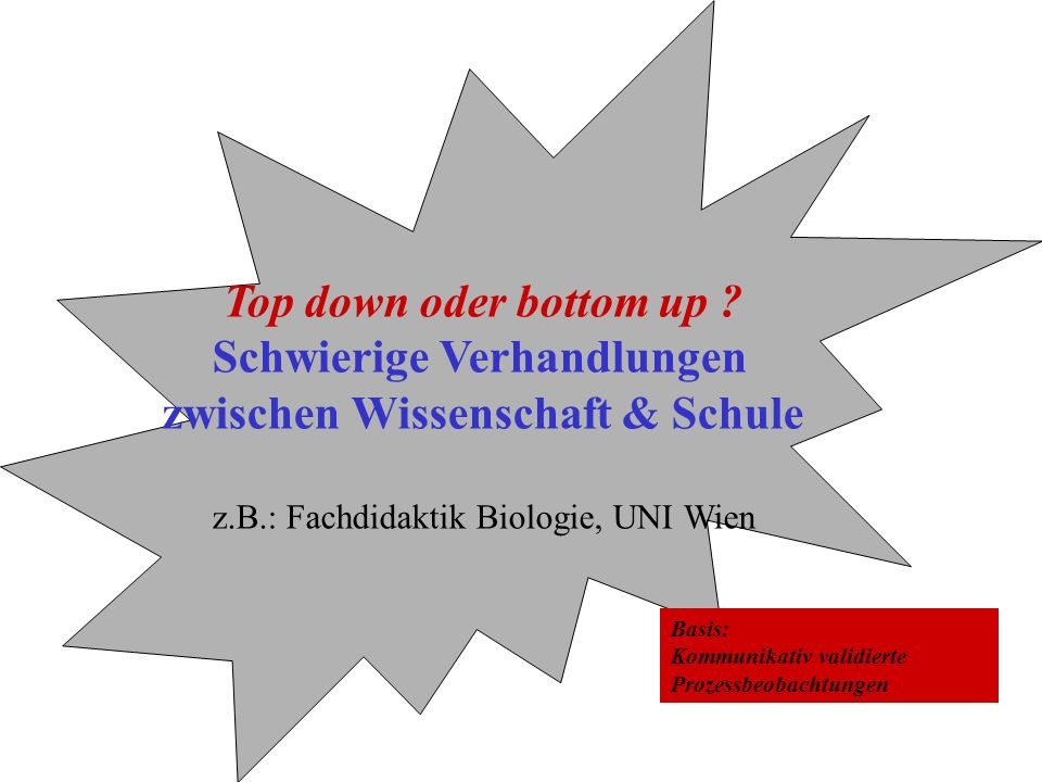 Top down oder bottom up ? Schwierige Verhandlungen zwischen Wissenschaft & Schule z.B.: Fachdidaktik Biologie, UNI Wien Basis: Kommunikativ validierte