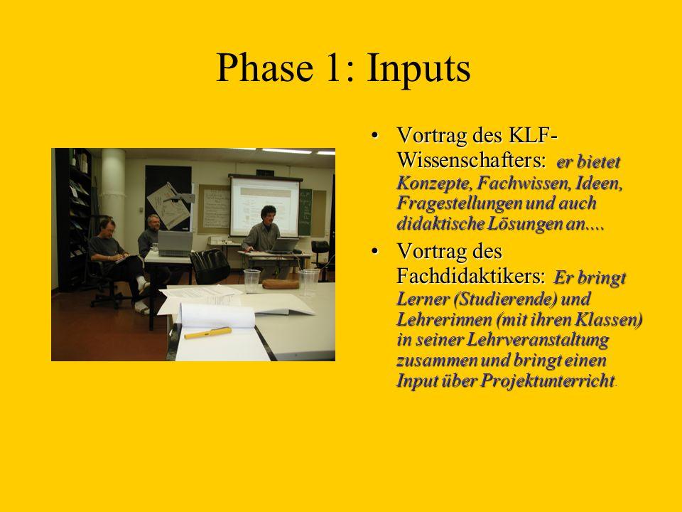 Phase 1: Inputs Vortrag des KLF- Wissenschafters: er bietet Konzepte, Fachwissen, Ideen, Fragestellungen und auch didaktische Lösungen an....Vortrag d