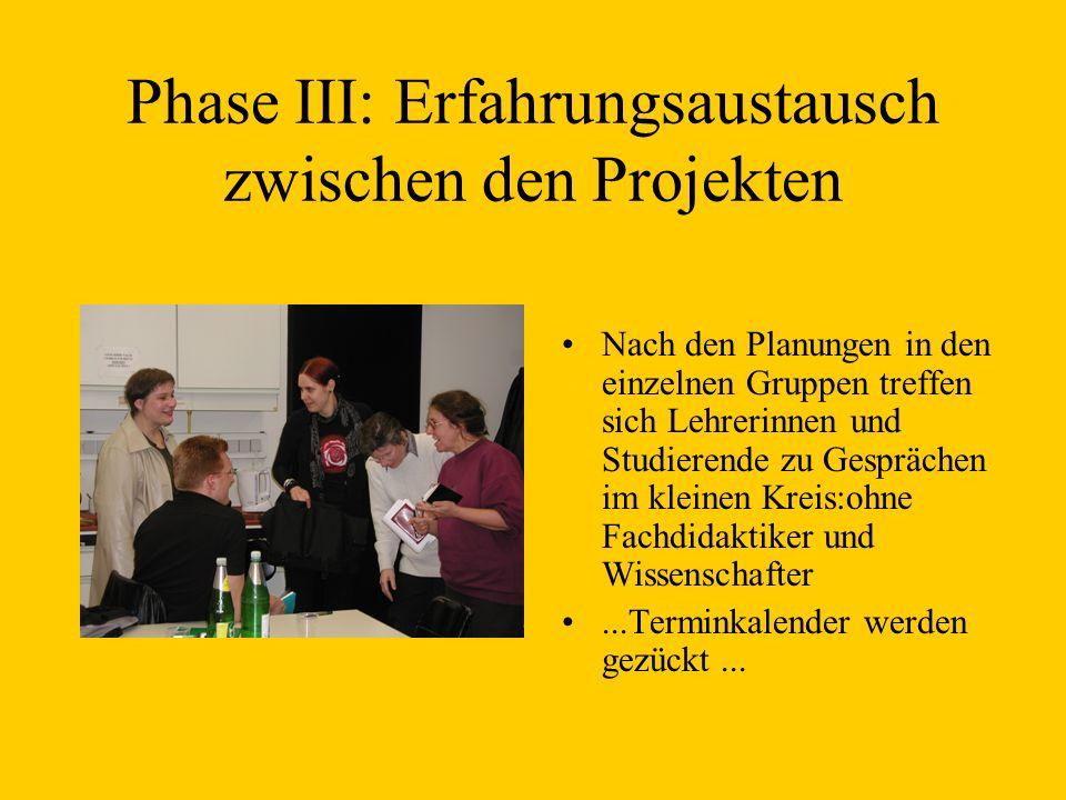 Phase III: Erfahrungsaustausch zwischen den Projekten Nach den Planungen in den einzelnen Gruppen treffen sich Lehrerinnen und Studierende zu Gespräch