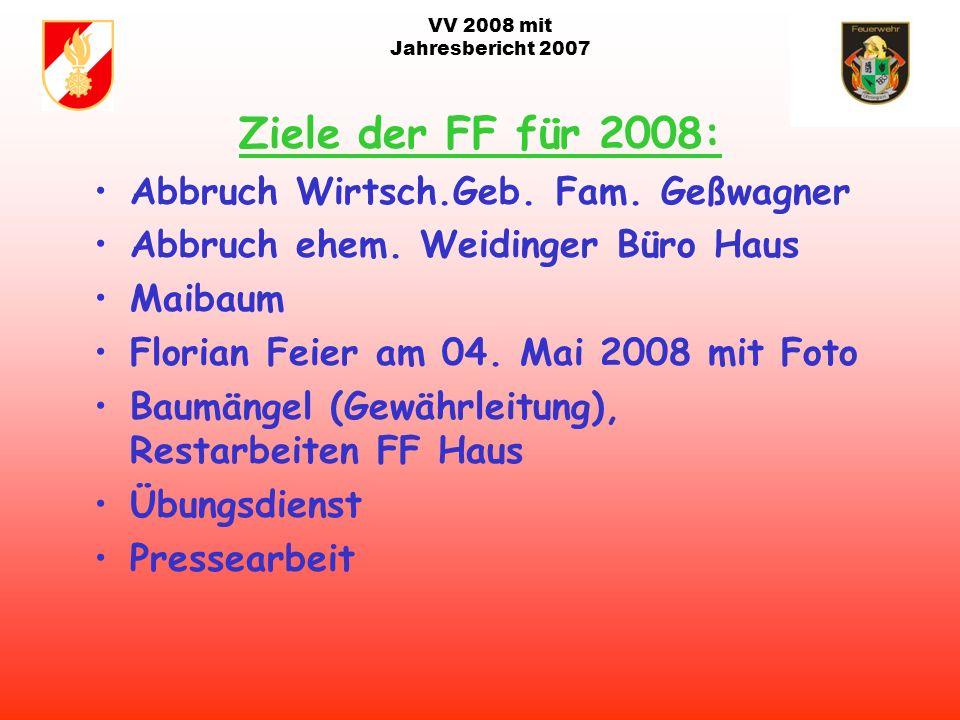 VV 2008 mit Jahresbericht 2007 Ziele der FF für 2008: Kommandowahl mit Strukturplan Aufgabenplan Neu Anschaffung Drehstromgenerator für Rüst TN beim e