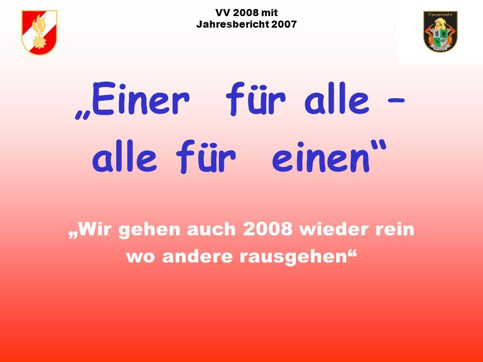 VV 2008 mit Jahresbericht 2007 Ziele der FF für 2008: Abbruch Wirtsch.Geb. Fam. Geßwagner Abbruch ehem. Weidinger Büro Haus Maibaum Florian Feier am 0
