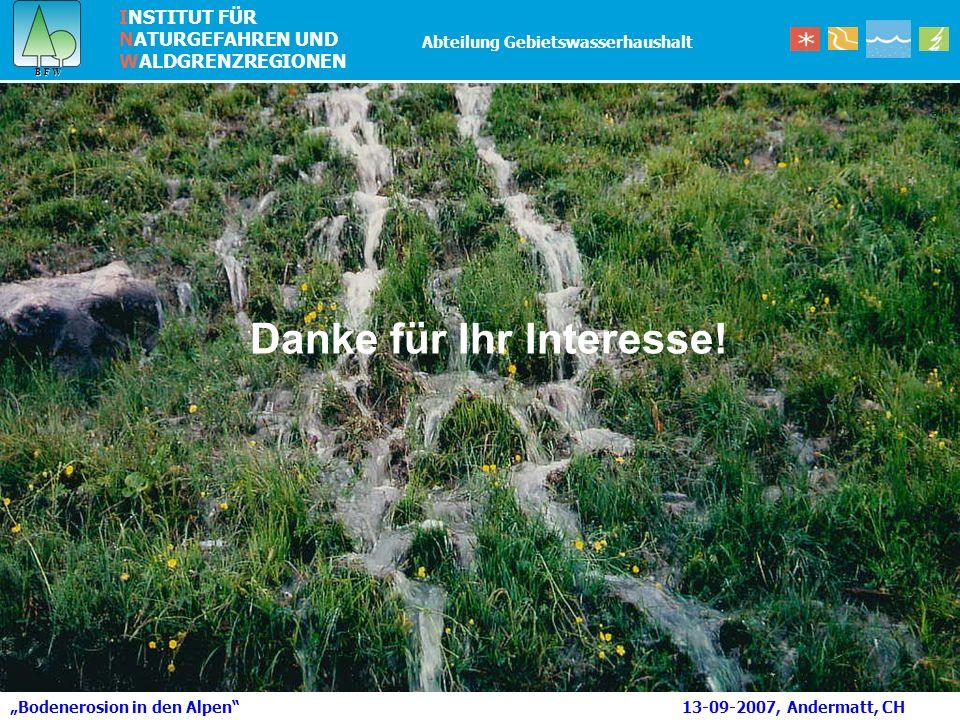 INSTITUT FÜR NATURGEFAHREN UND WALDGRENZREGIONEN B F W B F W Abteilung Gebietswasserhaushalt Bodenerosion in den Alpen 13-09-2007, Andermatt, CH Danke für Ihr Interesse!