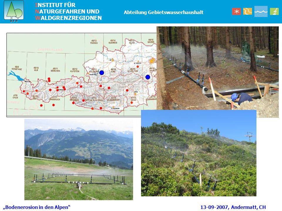 INSTITUT FÜR NATURGEFAHREN UND WALDGRENZREGIONEN B F W B F W Abteilung Gebietswasserhaushalt Bodenerosion in den Alpen 13-09-2007, Andermatt, CH