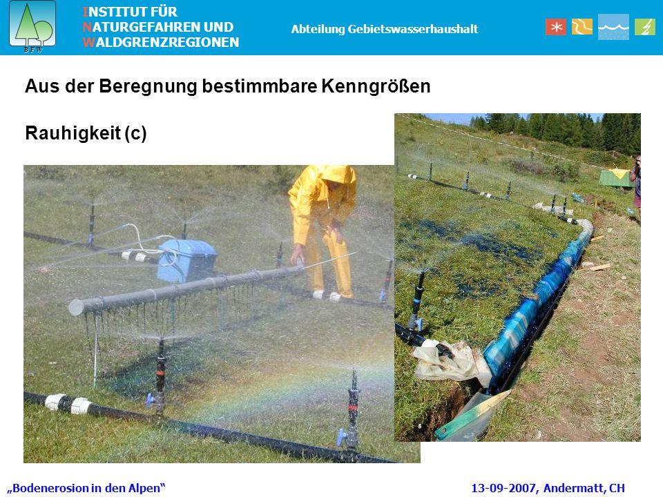 INSTITUT FÜR NATURGEFAHREN UND WALDGRENZREGIONEN B F W B F W Abteilung Gebietswasserhaushalt Rauhigkeit (c) Aus der Beregnung bestimmbare Kenngrößen Bodenerosion in den Alpen 13-09-2007, Andermatt, CH