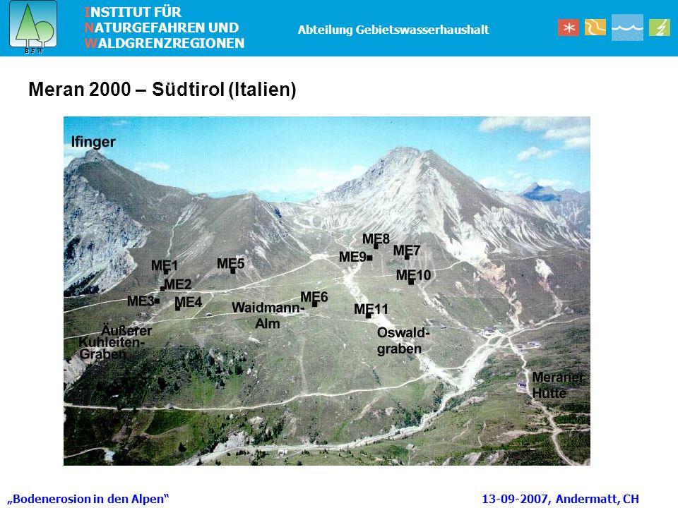 INSTITUT FÜR NATURGEFAHREN UND WALDGRENZREGIONEN B F W B F W Abteilung Gebietswasserhaushalt Bodenerosion in den Alpen 13-09-2007, Andermatt, CH Meran 2000 – Südtirol (Italien)