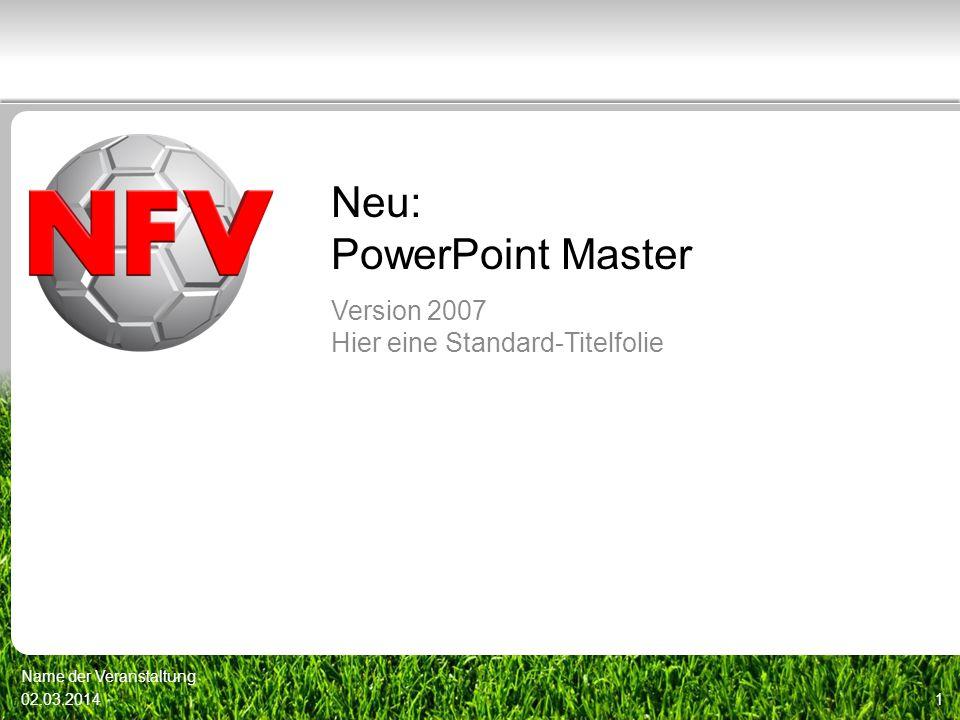 Neu: PowerPoint Master Version 2007 Hier eine Standard-Titelfolie 02.03.20141 Name der Veranstaltung