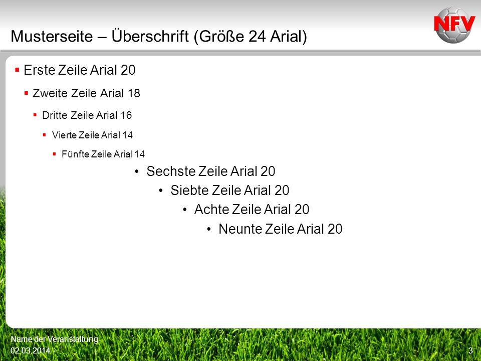 Musterseite – Überschrift (Größe 24 Arial) Erste Zeile Arial 20 Zweite Zeile Arial 18 Dritte Zeile Arial 16 Vierte Zeile Arial 14 Fünfte Zeile Arial 1