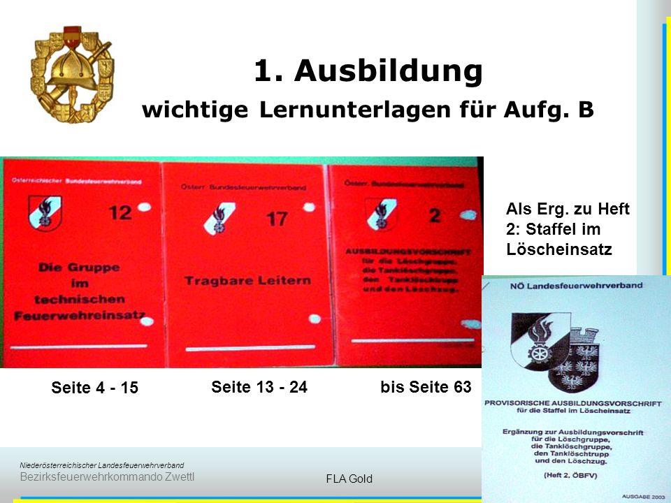 Niederösterreichischer Landesfeuerwehrverband Bezirksfeuerwehrkommando Zwettl FLA Gold10 1. Ausbildung B) Gruppe im Löscheinsatz und im technischen Ei