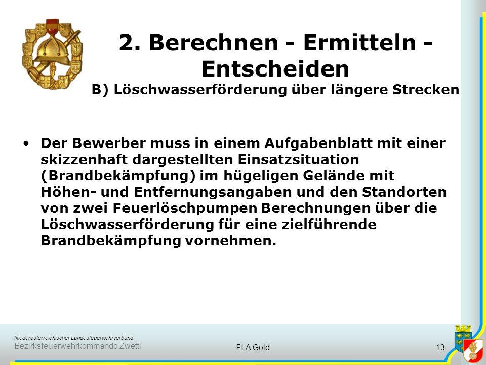 Niederösterreichischer Landesfeuerwehrverband Bezirksfeuerwehrkommando Zwettl FLA Gold12 2. Berechnen - Ermitteln - Entscheiden A) Löschmittelberechnu