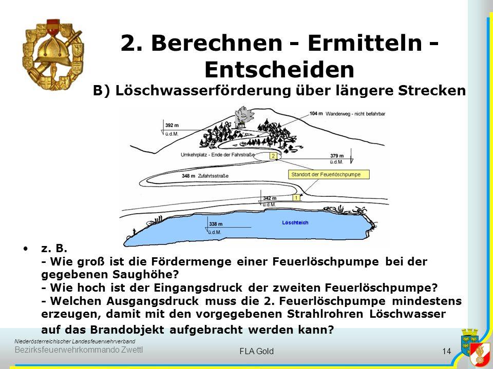 Niederösterreichischer Landesfeuerwehrverband Bezirksfeuerwehrkommando Zwettl FLA Gold13 2. Berechnen - Ermitteln - Entscheiden B) Löschwasserförderun