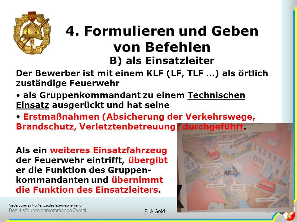 Niederösterreichischer Landesfeuerwehrverband Bezirksfeuerwehrkommando Zwettl FLA Gold18 4. Formulieren und Geben von Befehlen A) als Gruppenkommandan