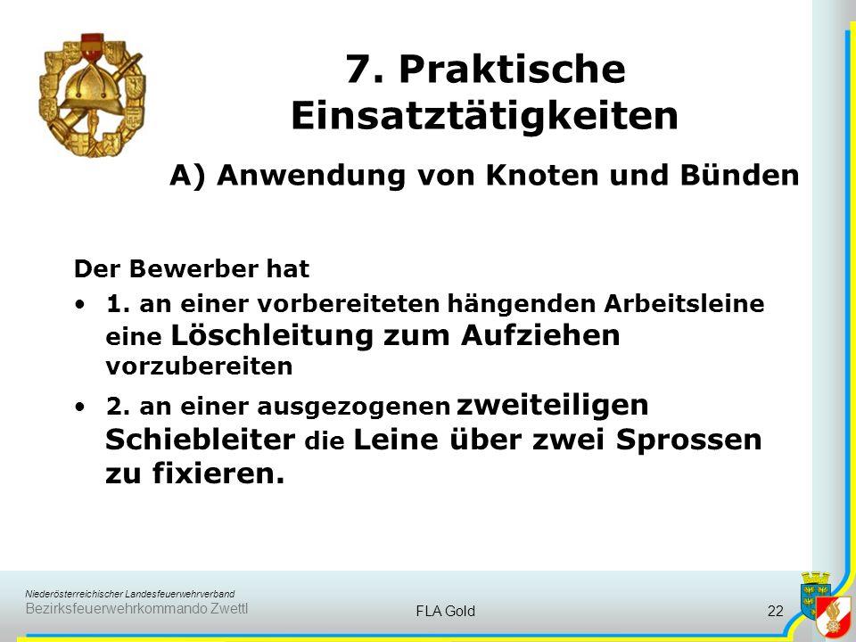 Niederösterreichischer Landesfeuerwehrverband Bezirksfeuerwehrkommando Zwettl FLA Gold21 6. Führungsverfahren A) Brandeinsatz B) Techn. Einsatz je ein