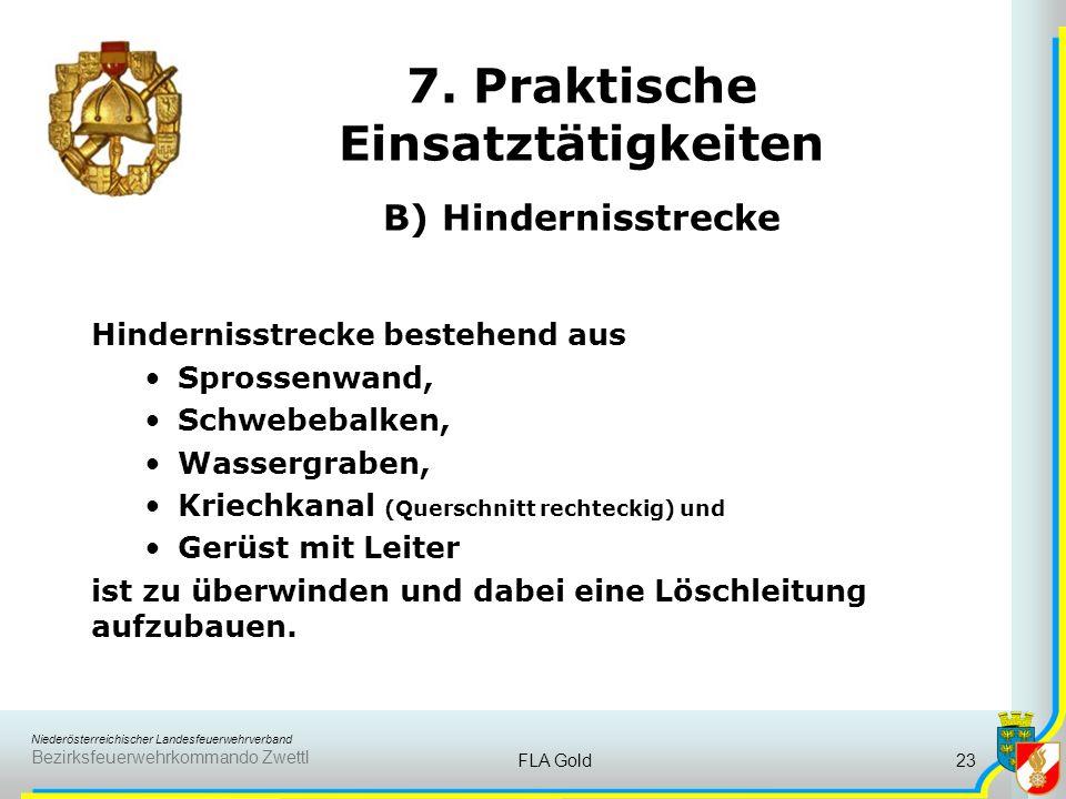 Niederösterreichischer Landesfeuerwehrverband Bezirksfeuerwehrkommando Zwettl FLA Gold22 7. Praktische Einsatztätigkeiten A) Anwendung von Knoten und
