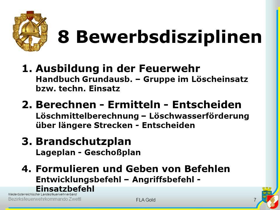 Niederösterreichischer Landesfeuerwehrverband Bezirksfeuerwehrkommando Zwettl FLA Gold7 8 Bewerbsdisziplinen 1.Ausbildung in der Feuerwehr Handbuch Grundausb.