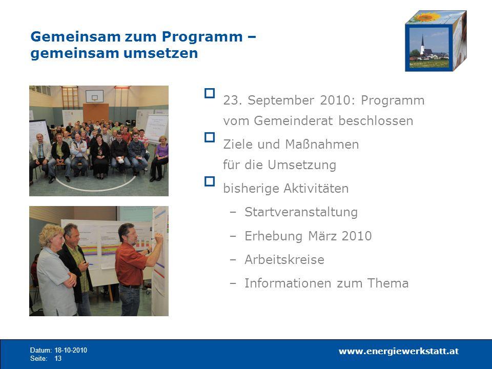 www.energiewerkstatt.at Datum:18-10-2010 Seite:13 23. September 2010: Programm vom Gemeinderat beschlossen Ziele und Maßnahmen für die Umsetzung bishe