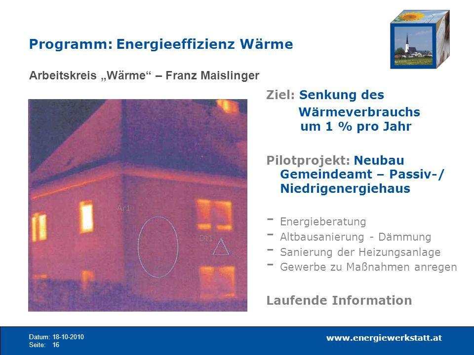 www.energiewerkstatt.at Datum:18-10-2010 Seite:16 Arbeitskreis Wärme – Franz Maislinger Ziel: Senkung des Wärmeverbrauchs um 1 % pro Jahr Pilotprojekt