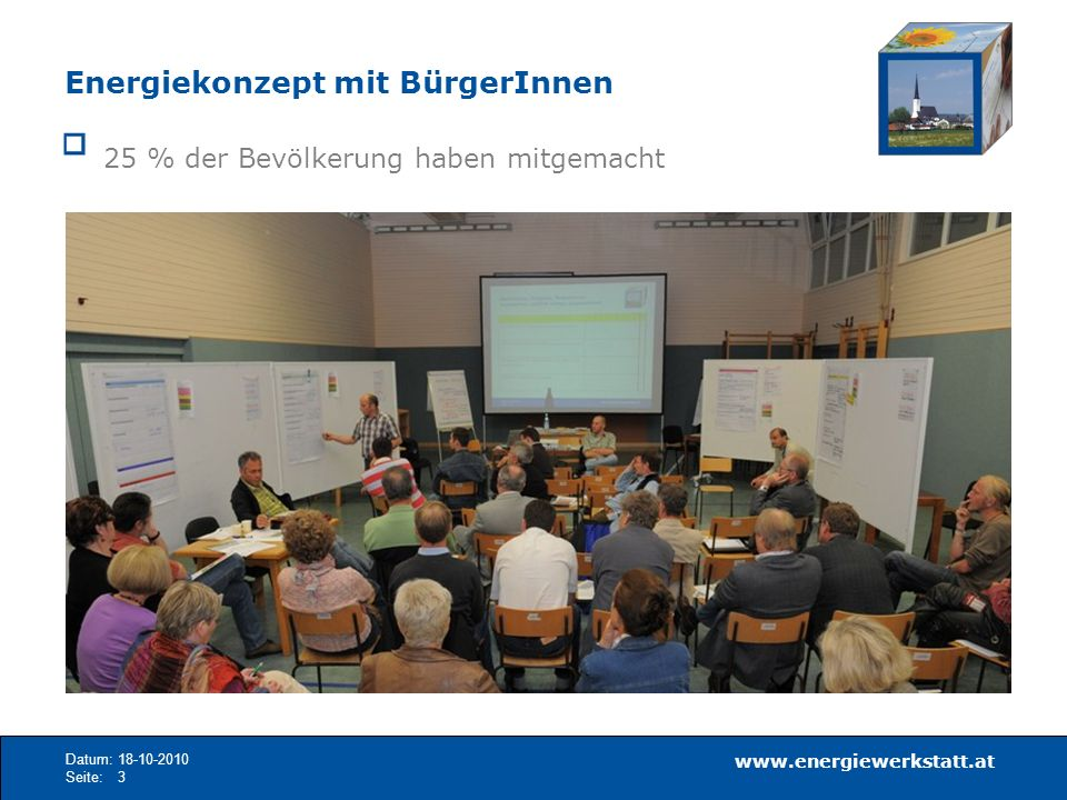 www.energiewerkstatt.at Datum:18-10-2010 Seite:14 Ziel: Ausgeglichene Energiebilanz Gesamtenergieverbrauch 2040Ziel: genutztes Potenzial in 30 Jahren