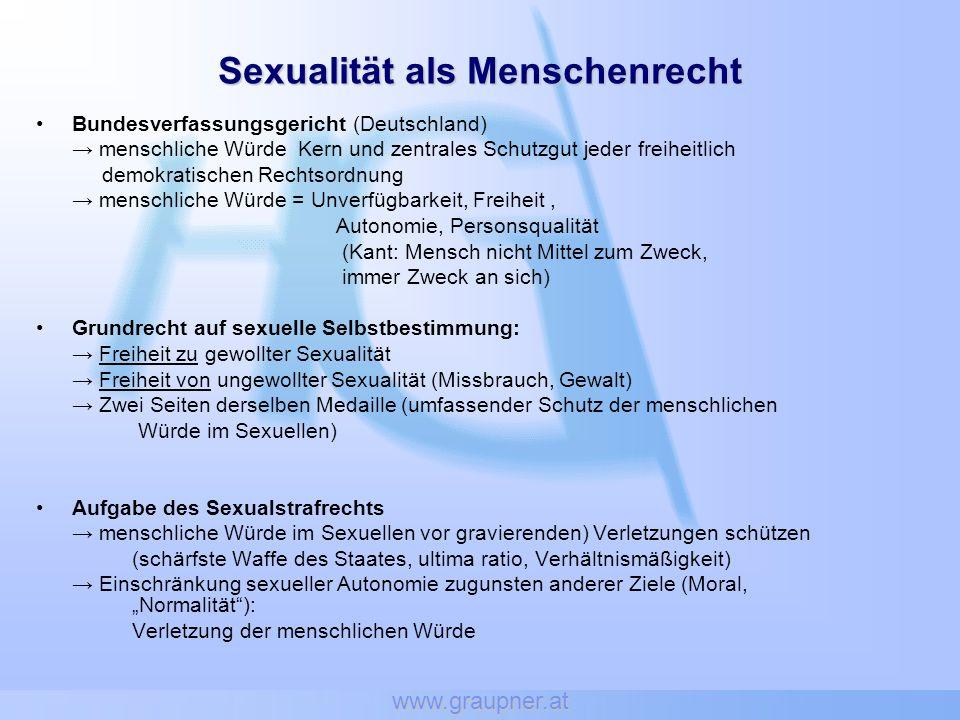 www.graupner.at zentraler Gedanke der Menschenrechte ist der Respekt vor der menschlichen Würde und Freiheit, die Anerkennung der persönlichen Autonomie ist ein bedeutendes Auslegungsprinzip in der Anwendung des Rechts auf Achtung des Privatlebens.