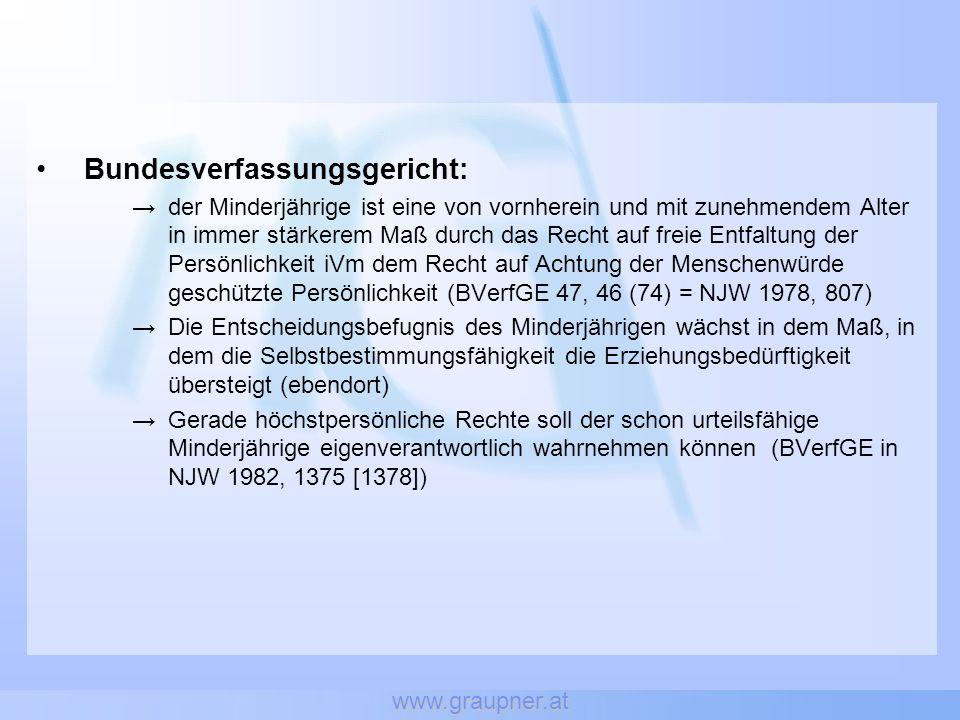 www.graupner.at Strafrechtliches Mindestalter 14 Jahre Deutschland (§ 176 dtStGB) & Österreich (§§ 206f öStGB) Einvernehmliche sexuelle Kontakte ab 14 straffrei in etwa der Hälfte der europäischen Rechtsordnungen Standard in jenen Strafrechtsordnungen mit Legalitäts- und Offizialprinzip Mindestalter stimmt mit Strafmündigkeit überein