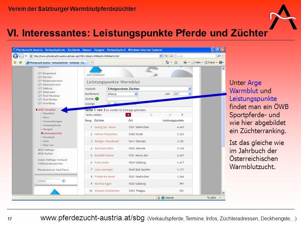 Verein der Salzburger Warmblutpferdezüchter 17 www.pferdezucht-austria.at/sbg (Verkaufspferde, Termine, Infos, Züchteradressen, Deckhengste,...) VI. I
