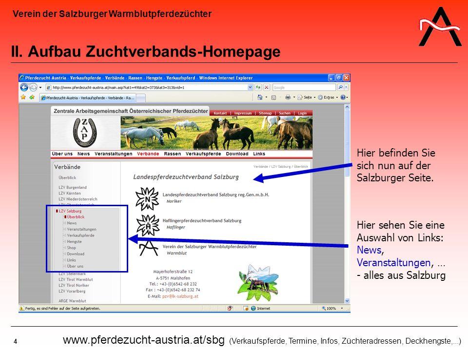 Verein der Salzburger Warmblutpferdezüchter 4 www.pferdezucht-austria.at/sbg (Verkaufspferde, Termine, Infos, Züchteradressen, Deckhengste,...) II. Au