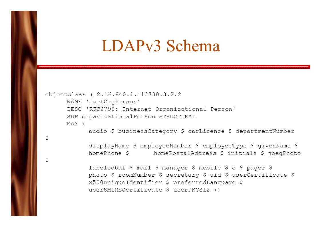 LDAPv3 Schema objectclass ( 2.16.840.1.113730.3.2.2 NAME inetOrgPerson DESC RFC2798: Internet Organizational Person SUP organizationalPerson STRUCTURAL MAY ( audio $ businessCategory $ carLicense $ departmentNumber $ displayName $ employeeNumber $ employeeType $ givenName $ homePhone $ homePostalAddress $ initials $ jpegPhoto $ labeledURI $ mail $ manager $ mobile $ o $ pager $ photo $ roomNumber $ secretary $ uid $ userCertificate $ x500uniqueIdentifier $ preferredLanguage $ userSMIMECertificate $ userPKCS12 ))