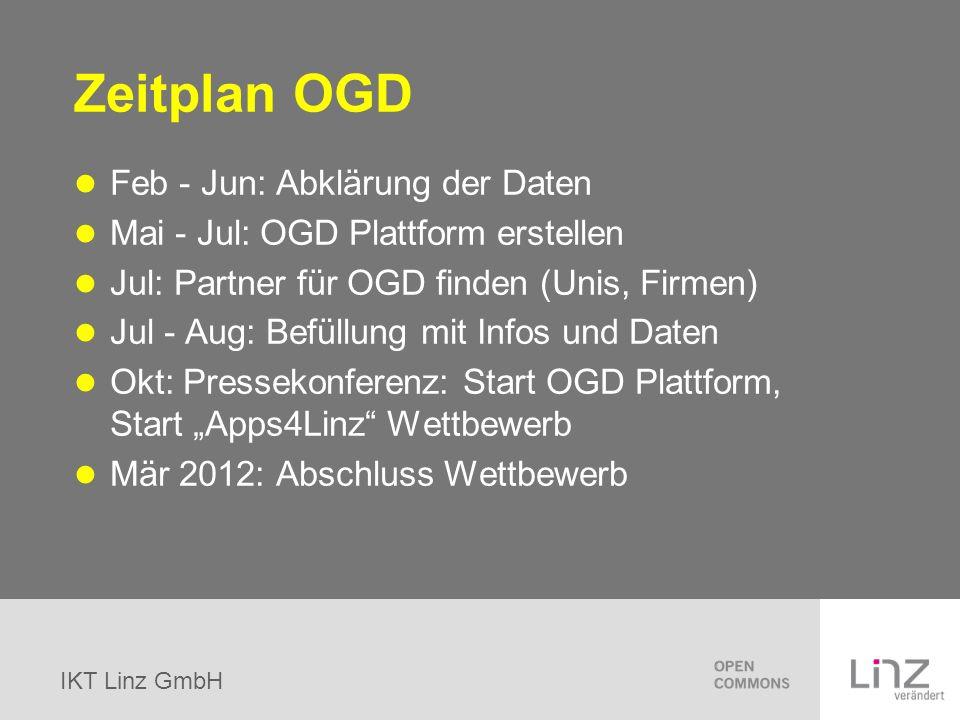 IKT Linz GmbH Zeitplan OGD Feb - Jun: Abklärung der Daten Mai - Jul: OGD Plattform erstellen Jul: Partner für OGD finden (Unis, Firmen) Jul - Aug: Bef