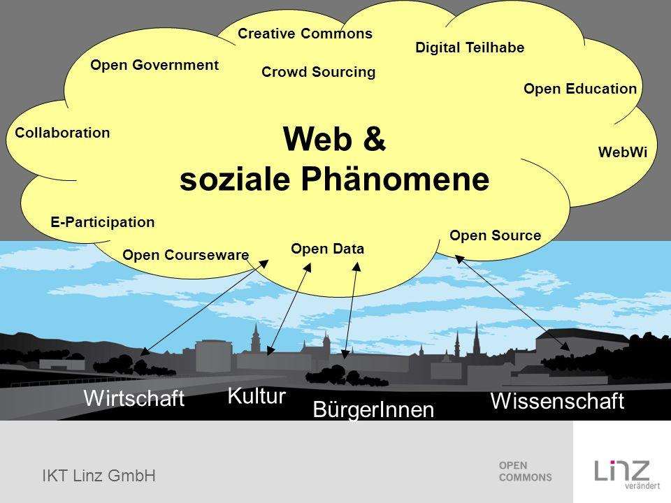 IKT Linz GmbH Open Commons Commons ist das Gemeingut an urheberrechtlich geschützten digitalen Artefakten Open Commons ist die freie Nutzung dieser Artefakte unter festgelegten Bedingungen