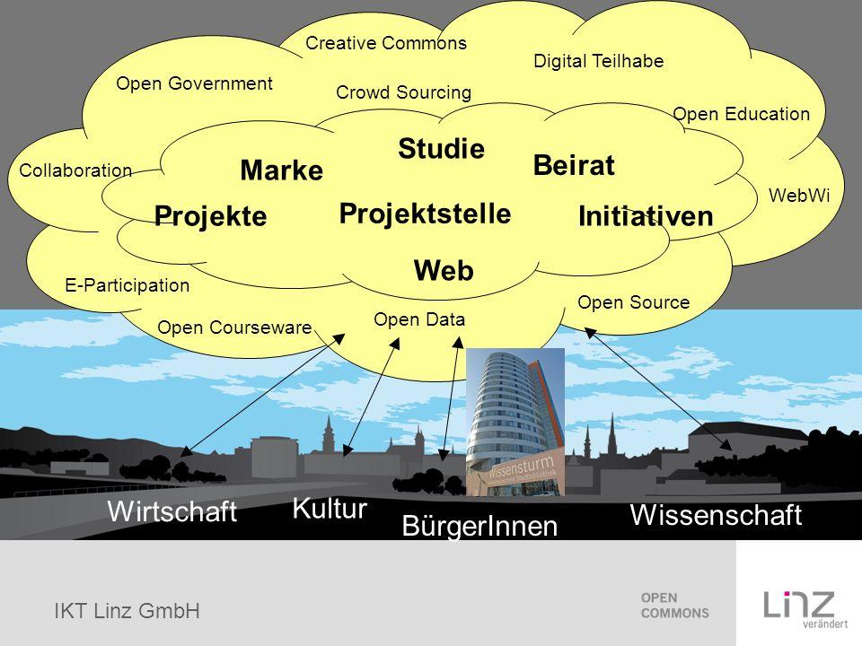 IKT Linz GmbH Bestehende Initiativen bündeln Hotspots Linz Public Space Server Bonus Kulturförderung (10%) bei Verwendung einer Creative Commons Lizenz Raumplanung im Internet Clickservice Vergünstigter Internetzugang Einsatz von Open Education an Pflichtschulen Web Wissenschaften an der JKU
