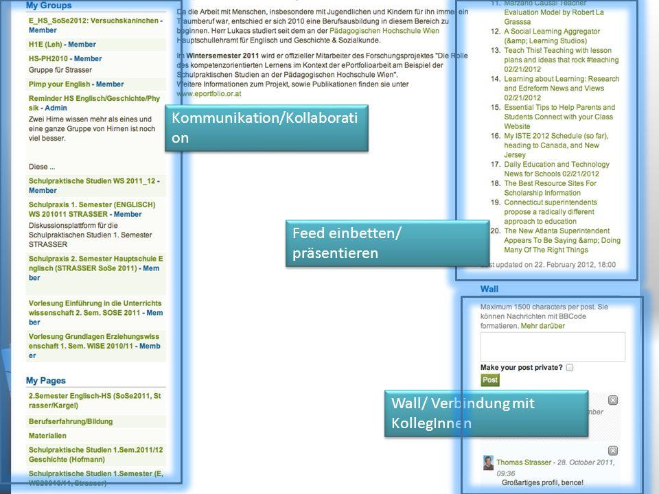 Kommunikation/Kollaborati on Feed einbetten/ präsentieren Wall/ Verbindung mit KollegInnen