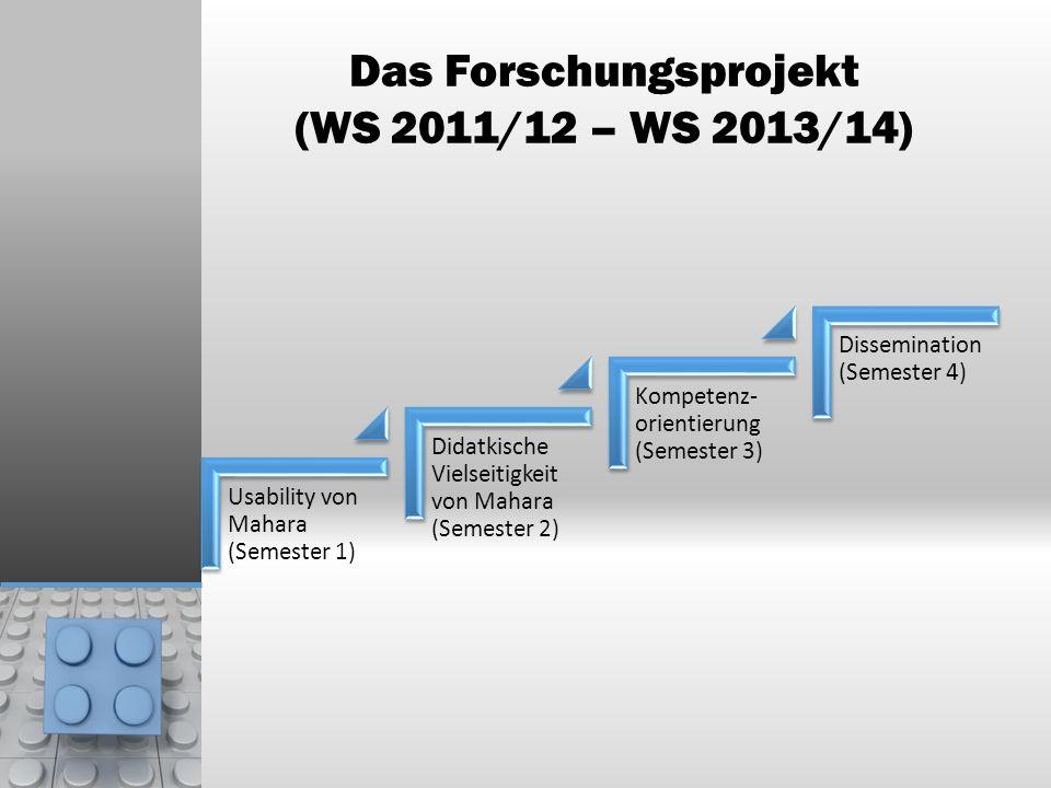 Das Forschungsprojekt (WS 2011/12 – WS 2013/14) Usability von Mahara (Semester 1) Didatkische Vielseitigkeit von Mahara (Semester 2) Kompetenz- orient