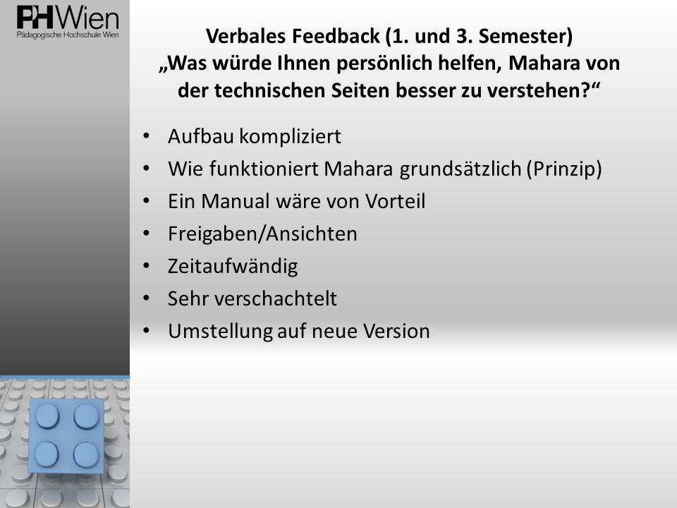 Verbales Feedback (1. und 3. Semester) Was würde Ihnen persönlich helfen, Mahara von der technischen Seiten besser zu verstehen? Aufbau kompliziert Wi