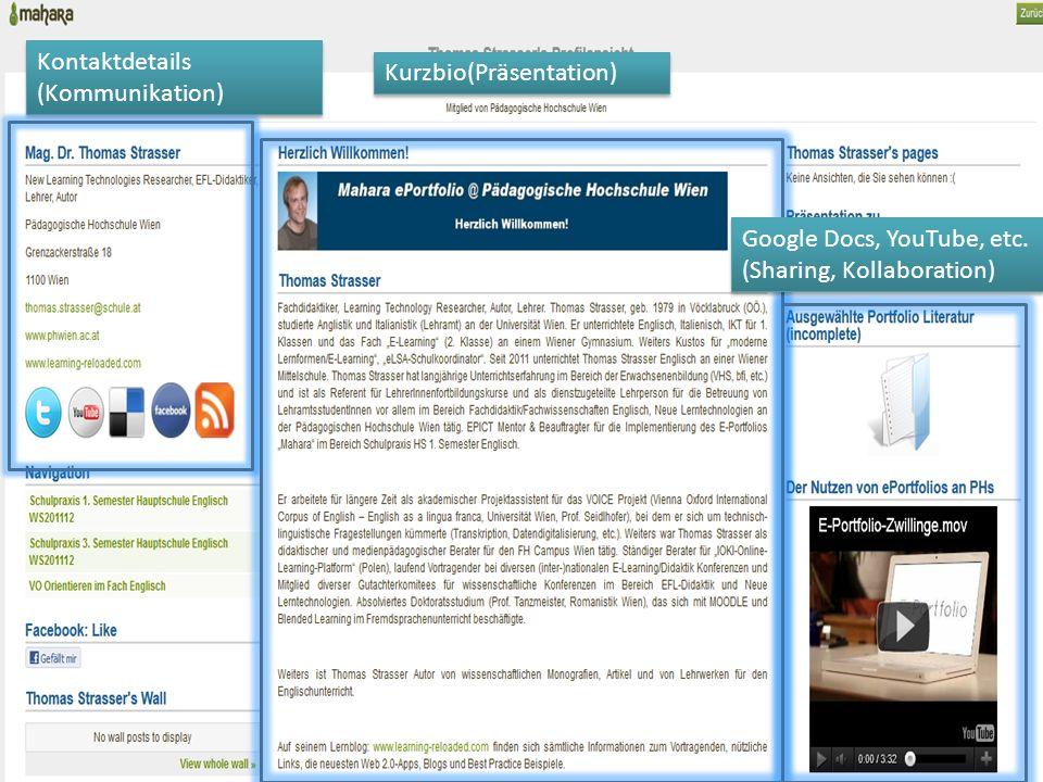 Twitter Feeds (Kommunikation) Synchronisierung mit Blogs (Kommunikation) Professionelle Entwicklung (Entwicklung, Präsentation) Meilensteine (credits @khimpsl) (Entwicklung)