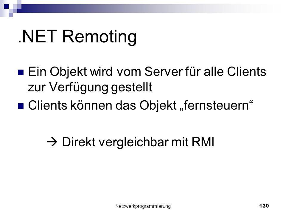 .NET Remoting Ein Objekt wird vom Server für alle Clients zur Verfügung gestellt Clients können das Objekt fernsteuern Direkt vergleichbar mit RMI Net