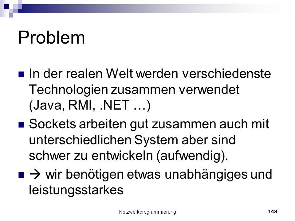 Problem In der realen Welt werden verschiedenste Technologien zusammen verwendet (Java, RMI,.NET …) Sockets arbeiten gut zusammen auch mit unterschied